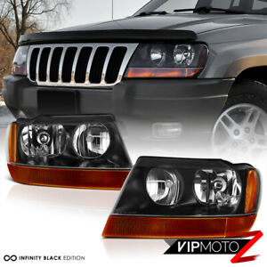 For 99 04 Jeep Grand Cherokee Wj Factory Style Black Headlights Headlamps Pair