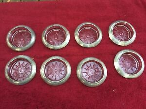 Set Of 8 Frank M Whiting Sterling Silver 925 And Glass Coasters