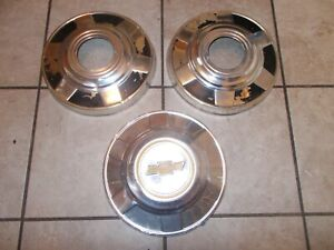 73 87 Chevy Truck 12 Dog Dish Poverty Hub Caps Aluminum 3 Pieces Only