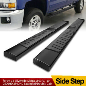 For 07 18 Chevy Silverado Double Cab Black Side Steps 6 Nerf Bars Running Board
