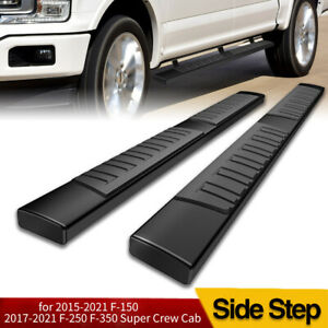 6 For 2015 2020 Ford F150 Super Crew Cab Running Board Side Step Nerf Bar Black