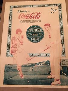Drink COCA COLA Ad Advertisement Vintage 1917 GOLF 5 cents 19th Hole Thirsty Yds