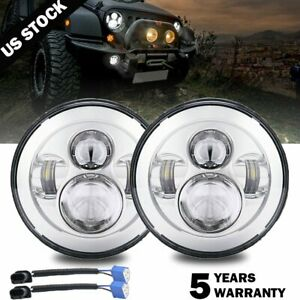 Dot Approved Chrome 7 Round Led Projector Hi lo Beam Headlight For Hummer H1 H2