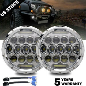 2x 7inch Round 280w Total Chrome Led Headlights 97 17 For Jeep Jk Tj Lj Wrangler
