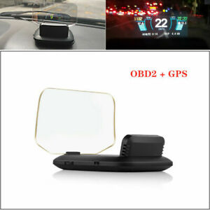 2in1 Head Up Display Speed rpm voltage Warning Obd2 Gps Projector For Any Car