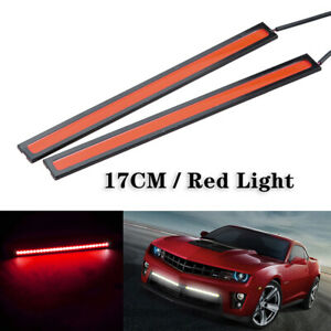 2x Red 12v Led Strip Drl Daytime Running Lights Fog Cob Car Lamp Day Driving