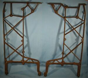Antique Vintage Pair Of Sewing Machine Cast Iron Base Stand Legs Ends