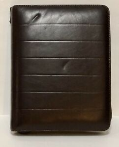 Vintage Day Planner Brown Organizer Time Design Soft Glove Leather Zip Binder