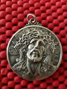 Vintage Creed Sterling Silver Pendant Necklace Jesus Mary Guadalupe 1 1 2 Large