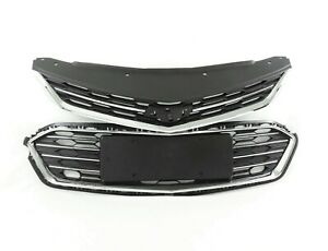 For Chevrolet Cruze 2016 2017 Front Bumper Upper Grill Lower Grille Chrome Trim