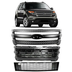 For 2011 2015 Ford Explorer Front Snap On Trim Overlay Upper Lower Grill Grille