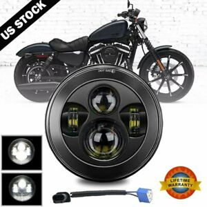 Dot 7 Inch Motorcycle Led Headlight Hi Lo Beam Black Fit For Harley Street Glide
