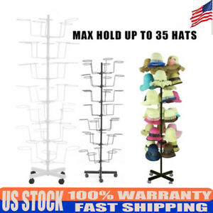 7tier Metal Hat Display Stand Rotating Hanger Rack Floor Stand W 4 Wheel Durable