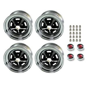 Magnum 500 Wheels Kit With Red Ford Crest Caps And Lug Nuts 15 X 7 And 15 X 8