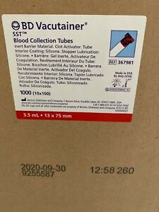 Bd Vacutainer 367981 Tube Red Grey Top Sst 3 5 Ml 1 Case Of 1000 Exp 09 30 2020
