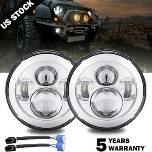 Pair 7 Inch Round Led Headlights Halo Turn Signal Chrome For Jeep Wrangler Jk Tj
