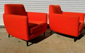 Mid Century Styled Club Parlor Chair Set Atomic Orange Gpx Ship Available