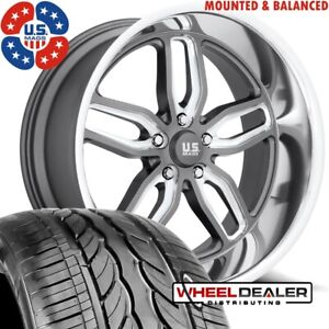 20 Staggered Us Mags C ten Gray U129 Wheels Rims W tires Chevy Gmc C10 5x5 Bp
