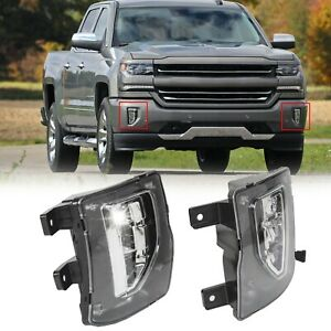 For 16 18 Chevy Silverado 1500 Bright Led Fog Lights Driving Bumper Lamps switch