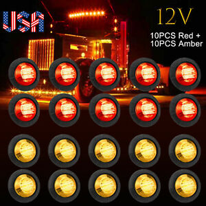 20pack 3 4 Red Amber Bullet Side Marker Led Light Flush Mount Car Trailer Truck