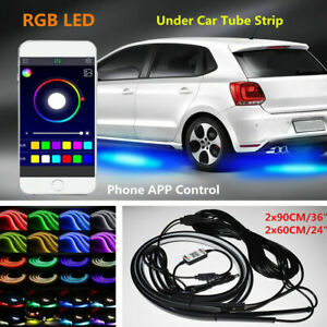 4x 5050 Rgb Led Under Car Tube Strip Underglow Neon Light Kit Phone App Control
