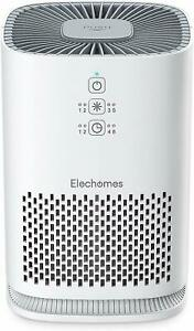 Elechomes Air Purifier For Home True Hepa Filter Ultra Quiet Air Cleaner White
