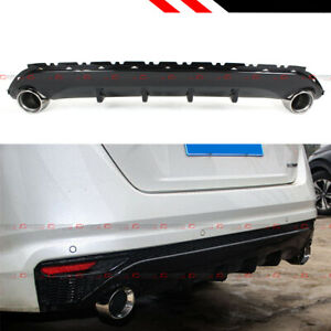 For 19 2020 Nissan Altima Gloss Blk Shark Fin Rear Bumper Diffuser Exhaust Tip