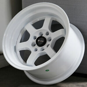 15x8 White Wheels Vors Tr7 4x100 4x114 3 0 Set Of 4