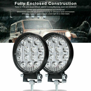 2x Led Work Light Spot Lights For Truck Off Road Tractor Atv Round 42w