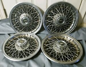 Vintage Set Of 4 Chevy Caprice Classic Impala 15 Wire Spoke Hubcap Wheel Covers