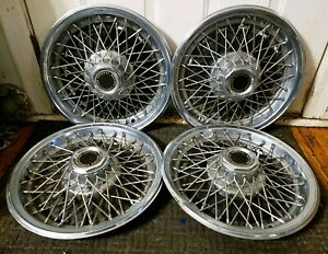 Vintage Set Of 4 Chevy Gmc Pickup Truck Van 15 Wire Spoke Hubcaps Wheel Covers