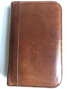 Coach Vintage Day timer Planner Brown Leather 6 ring Binder Organizer Zip