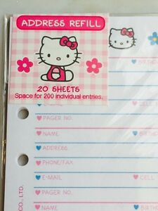 Hello Kitty Address phone Book Refill Paper Sanrio Rare Fits Lv Mm A6 New