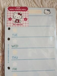 Hello Kitty Day Planner Weekly Agenda Refill Paper Fits Lv Mm A6