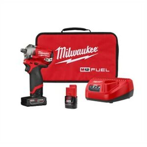 Milwaukee M12 Fuel Stubby 1 2 In Impact Wrench W 2 Batteries Kit Mlw2555 22