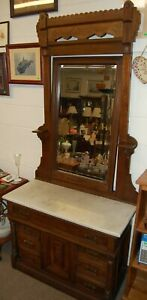 Antique Estate Dresser White Marble Top Mirror Solid Carved Wood Brass Pulls
