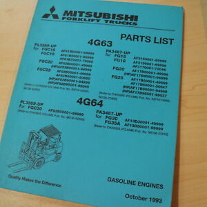 Mitsubishi 4g63 4g64 Forklift Gas Gasoline Engine Parts Manual Cat Fg Fgc Series