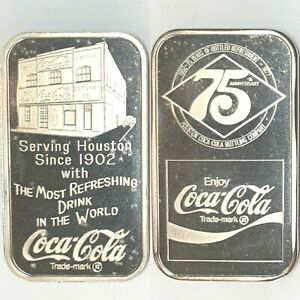 Coca Cola • Houston, Texas • 1 oz Silver Bar • GEM BU MINT • Serial #006300