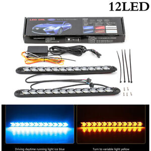 Car Light 12led Drl Fog Driving Daylight Daytime Running White Ice Blue Lamp
