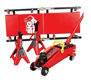 Torin Big Red Hydraulic Trolley Floor Jack Combo With 2 Jack Stands And Rolli