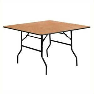 Flash Furniture 48 Square Wood Top Folding Banquet Table In Natural
