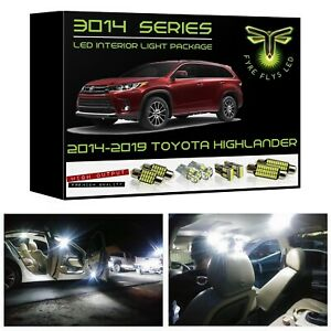 White Led Interior Lights Kit Package For 2014 2019 Toyota Highlander 3014 Smd