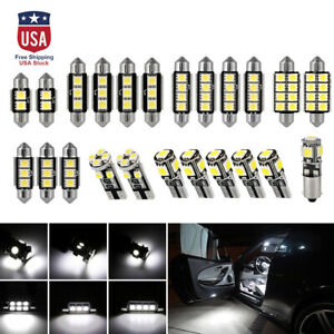 23x Car Led White Lamps Lamp Interior Dome Map Light Bulb Canbus Reading Lights
