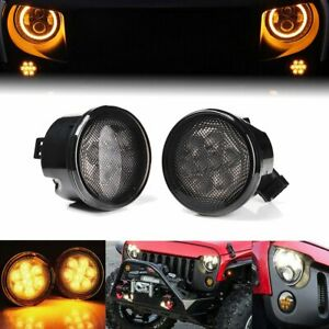 2pcs Front Grill Led Turn Signal Light Smoke Lens For Jeep Wrangler Jk 07 17 Cao
