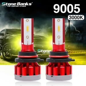 2x 3000k Yellow 9005 Hb3 Led Headlight Kit High Beam Csp Bulb 100w 20000lm
