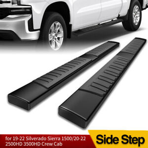 For 19 20 Chevy Silverado Crew Cab Black Side Steps 6 Nerf Bars Running Boards