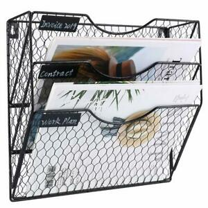 File Holder Hanging Organizer Chicken Wire Wall Mount Magazine Rack 3 tier Black