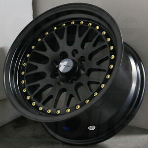 15x8 Black Gold Rivets Wheels Avid1 Av12 Av 12 4x100 25 set Of 4