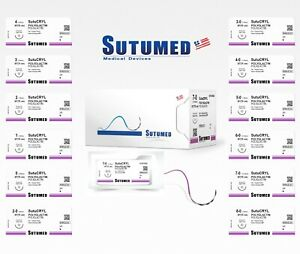 Sutumed Sutu cryl Polyglactin 7 0 3 8 6 5mm Spatulated Double Surgical Sutures