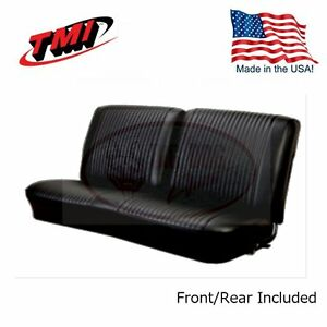 1964 Chevelle Coupe Black Bench Seat Front rear Upholstery By Tmi